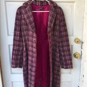Vintage 80s BETSEY JOHNSON Plaid Mohair Coat